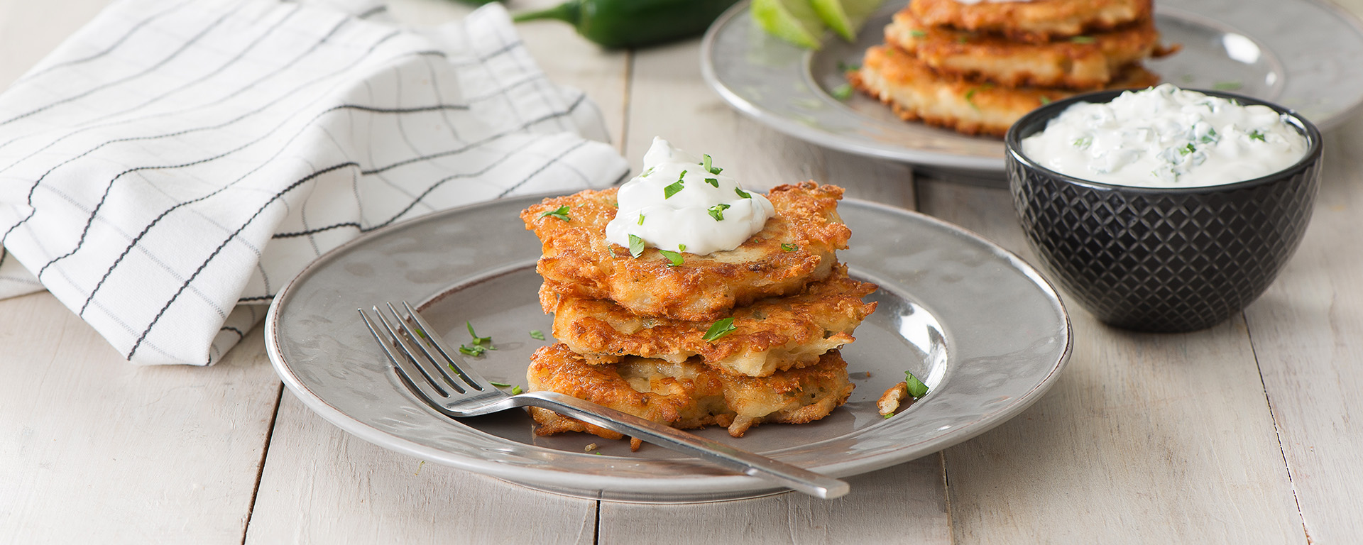 Photo of - Cheesy Jalapeño Latkes